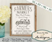 Farmers Market SVG - kitchen svg - farmhouse svg - old truck with chickens svg - fresh produce svg - Commercial Use  svg, dfx, png, jpg