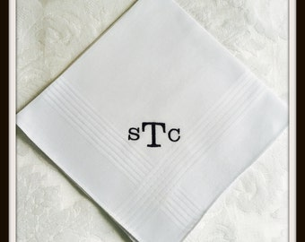 PERSONALIZED EMBROIDERED  Mans Handkerchief with Monogram