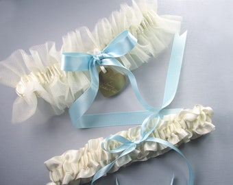 Personalized Tulle Wedding Garter Set in Ivory with a Something Blue Bow and Engraving