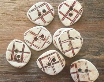 FREE SHIPPING Set of 8 Handmade Ceramic Buttons - Red Plaid