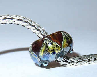 Luccicare Lampwork Bead - Amber Lotus -  Lined with Sterling Silver