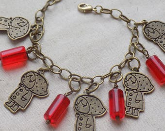 Little Red Riding Hood Charm Bracelet with Red tube beads