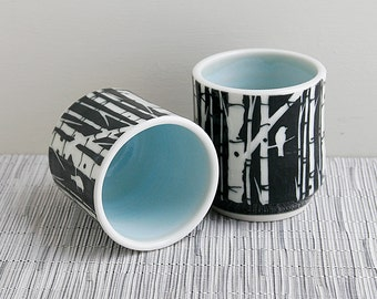 Black and White Cups with Sgraffito Birch Tree Design