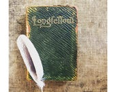 1901 Longfellow Poetry Book - Embossed Green Leather