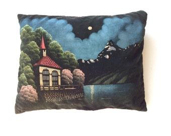 1940s Painted Velvet Pillow - Night Scene