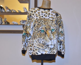 "80"" Jaguar,Lion Shirt ,Meduim  Large,Tiger,Wild Cat,Silver Glitter,True batwing,Sassy Iconic Dolmen Sleeves,Excellent Condition,Body Con"