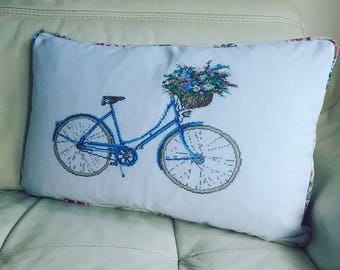 Handmade Bicycle Cross Stitched Piped Cushion Cover
