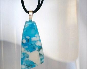 Glass Necklace, Handmade, Glass Pendant, Aqua,  Beige, Glass, Fused Glass Pendant, 048