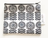 NEW monochrome geometric Scandi flowers fabric purse / pouch by Jane Foster  - lined