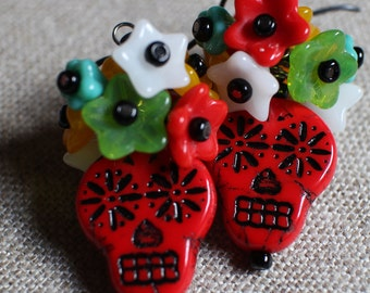 Sugar Skull Earrings, Day of the Dead Earrings, Colorful Earrings, Hypoallergenic Ear Wires, Niobium Ear Wires