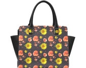 Floral handbag sunflower poppy ivy flowery purse yellow red flowers navy shoulder bag floral purse handbag shoulder strap women's fashion
