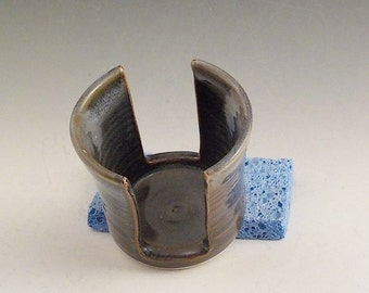 Sponge Holder - Handmade Stoneware Kitchen Accessory - Ceramic Small Cup Dispenser - Ready to Ship - Brown Blue with White Rim Dip h461