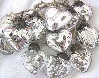 SALE!  Hand Strung Silver Heart Shaped Mercury Glass Ornament Garland
