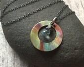 Copper Pendant Necklace Gemstone Pendant Necklace Copper Jewelry Aquamarine Pendant March Birthstone Copper Patina Mixed Metal Jewelry