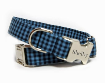 Engraved Blue Gingham Dog Collar, Blue and Black Check, Personalized Gingham Dog Collar (shown with optional engraving)