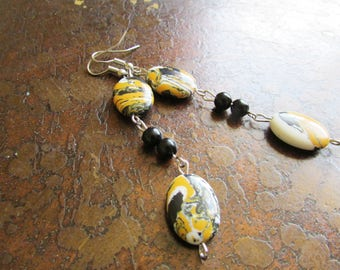 Bumblebee Marble Glass Beaded Dangle earrings