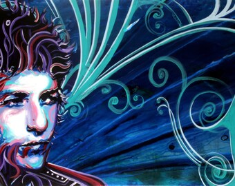 """Bob Dylan signed 36""""x18"""" canvas giclee"""