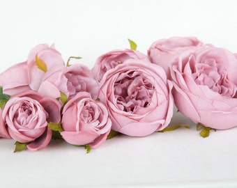 Set of 9 Small to Large Cabbage Roses in Antique Shabby Chic Pink -read description- ITEM 01049