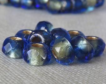 Mediterranean Blue Gold 6x9mm Czech Glass Roller Bead : 10 pc Sapphire Gold Large Hole Pony Bead