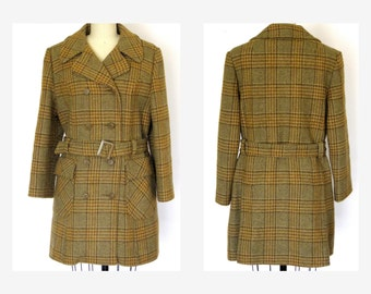 1960s Wool Coat/ Fur Lined Double Breasted Coat/ Belted Car Coat - M