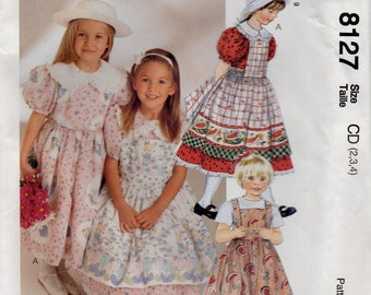McCall's 8127 Children's and Girls Dress and Pinafore Size 2-3-4 Uncut Pattern