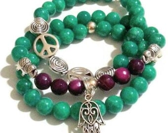 Special Buy Dyed green mountain Jade, wine color striped Agate elephant bead Hamsa  charm Spiral peace bracelet set