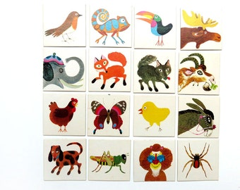 Vintage Lot 16 1970s Animal Memory Playing Cards - Bingo Game Pieces - Scrapbooking Supplies 70s Dutch Paper Ephemera Pack Images Board Game
