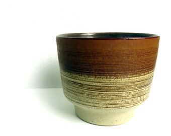 "Large Vintage Strehla East Germany Pottery Planter GDR - German Ceramics - Mid Century Gradient Brown Plant Pot - 5.5"" tall"