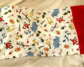 DR SEUSS and FRIENDS with Red Sleeve Print Standard Cotton Pillowcase