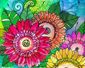 Cindys Garden bird and flowers garden print