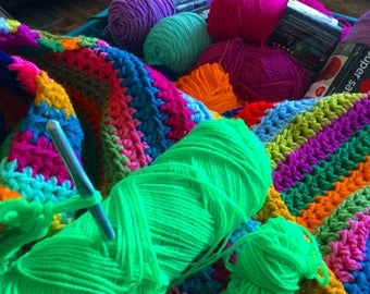 Crochet Blanket Double Strand Double Stripe half double crochet stitch afghan 55 x 40