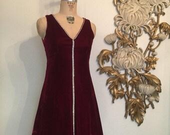 Fall sale 1960s dress velvet dress red dress mod dress holiday dress size medium vintage dress rhinestone dress