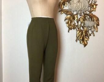 1950s pants olive green pants cigarette pants size small lady r rough rider pants 25 waist rockabilly pants