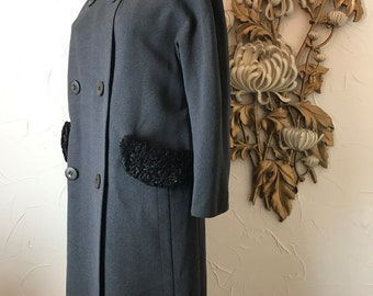 1950s coat wool coat gray coat size large double breasted persian lamb coat Youthcraft coat