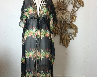 Fall sale Vintage dress kimono dress sheer dress size medium maxi dress vintage kaftan open front dress