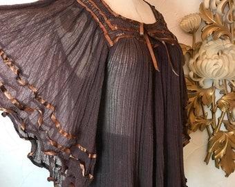 Fall sale 1970s blouse gauze blouse hippie blouse size medium vintage blouse bohemian blouse angel sleeve top