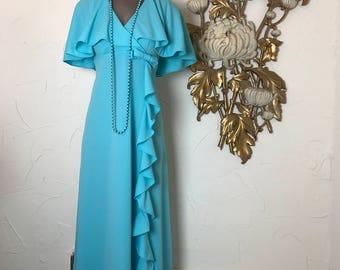 1960s dress maxi dress empire waist dress size vintage dress caped dress hostess dress 36 bust