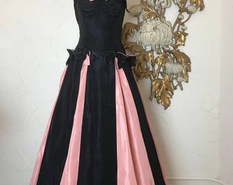 1940s gown pink and black party dress 1940s dress size small vintage dress striped dress 32 bust