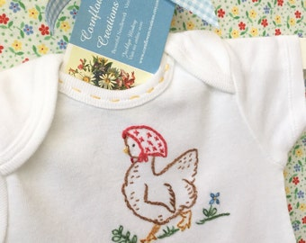 Henny Penny Chicken - Onesie, Bodysuit - Hand Embroided Vintage Style Embroidery by Cornflower Creations