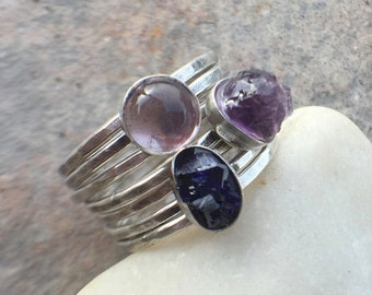 25% Off - Raw Amethyst Lapis Sterling Silver Stacking Rings US Size 6.5
