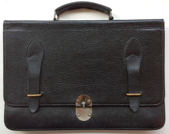 Vintage Leather Briefcase. Black Leather Briefcase - Sylvain Lefebvre. Black Leather Satchel Bag, Divided, with Pocket and Flap.
