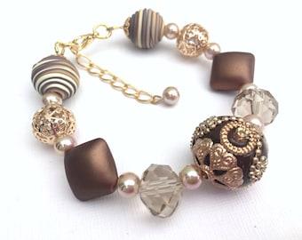 Brown Bracelet, Chocolate Brown Jewelry,Chunky Bracelet, Beaded Bracelet, Single Strand Bracelet, Mother Of The Bride Bracelet, Bead Jewelry