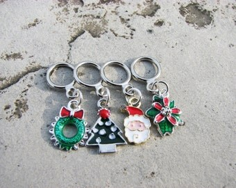 Enameled Christmas Non-Snag Stitch Markers
