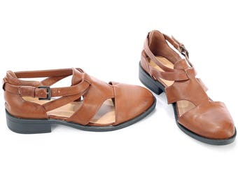 WIDE FIT Leather Sandals 70s Rust Brown Bohemian Thick Leather Multi Strap Chunky Heel Ankle Strap European Quality  US wom 8.5 Uk 6 Eur 39