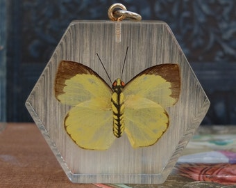 Vintage Lucite Butterfly Pendant