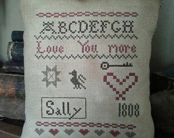 PriMiTiVe - - Love You More- - EaRLy LoOk CrOSs STiTcH Cupboard Tuck