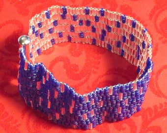 Silver and Blue Seed and Bugle Bead Bracelet