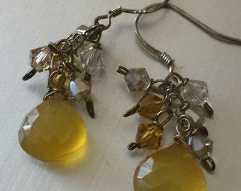 Lemon Chalcedony Cluster Earrings