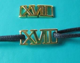 2017 Roman Numerals Charm gold tone x 2 pieces