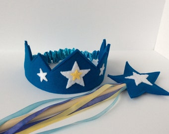 Wool Felt Crown and Wand-- silk and wool Star Child play set in turquoise with hand dyed silk streamers